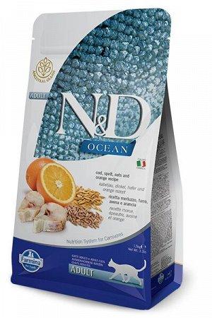 Farmina N&D Cat Ocean Adult Cat Cod & Orange сухой низкозерновой корм для кошек Спельта/Овес/Треска/Апельсин 1,5кг
