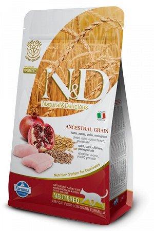 Farmina N&D Cat AG Adult Cat Chicken & Pomegranate Neutered сухой низкозерновой корм для стерилизованных кошек и кастрированных котов Спельта/Овес/Курица/Гранат 5кг