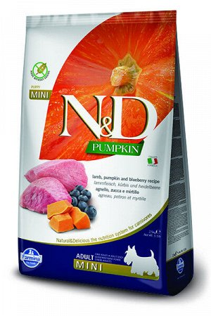 Farmina N&D Grain Free Pumpkin Adult Mini сухой беззерновой корм для собак мелких пород Ягненок/Черника/тыква 7кг