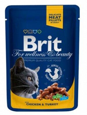 Brit Premium Chicken&Turkey влажный корм для кошек Курица/Индейка 100гр пауч