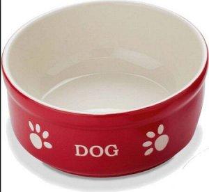 Миска NOBBY керамика красная с рисунком DOG 12см