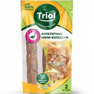 TRIOL лакомство для кошек аппетитные мини-колбаски из утки 7гр