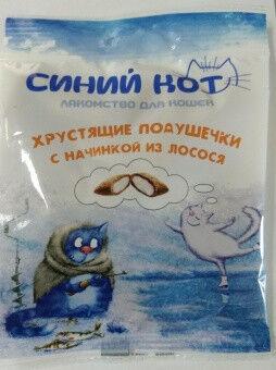 Титбит Titbit Хрустящие подушечки для кошек с начинкой из лосося 30г (Синий кот)