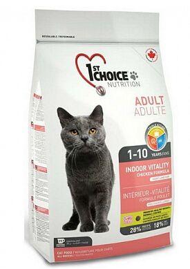 1'st Choice Indoor Vitality сухой корм для домашних кошек с Цыпленком 907гр