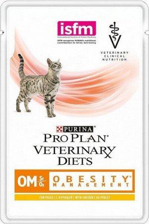 Purina Obesity OM диета влажный корм для кошек при Ожирении и Диабете Курица 85гр пауч