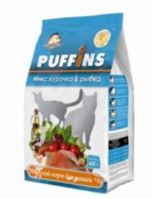 Puffins сухой корм для кошек Курочка и рыбка 400г