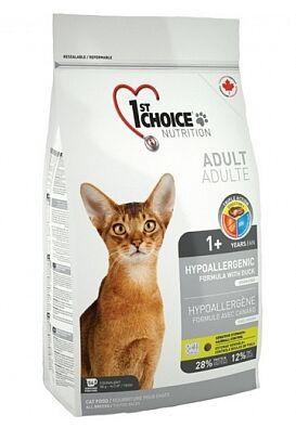 1'st Choice Hypoallergenic сухой беззерновой корм для кошек Утка+Картофель 2,72кг