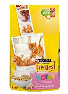 Friskies сухой корм для котят Курица+Молоко+Овощи 2кг АКЦИЯ!