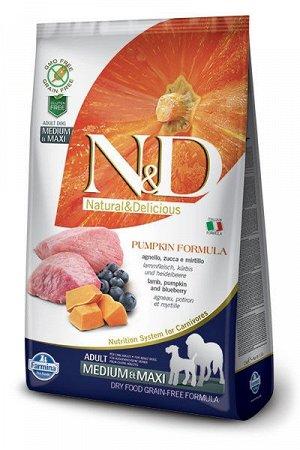 Farmina N&D Grain Free Pumpkin сухой беззерновой корм для собак крупных и средних пород Ягненок/Черника/Тыква 2,5кг