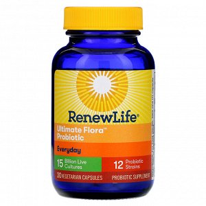 Renew Life, Everyday, Ultimate Flora Probiotic, 15 Billion Live Cultures, 30 Vegetable Capsules