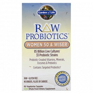Garden of Life, RAW Probiotics, для женщин старше 50 лет, 90 вегетарианских капсул