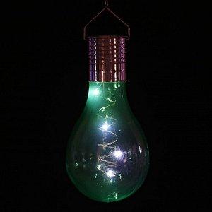 """Фонарь садовый на солнечной батарее """"Лампочка Зеленая"""", 5 led, пластик, на прищепке"""