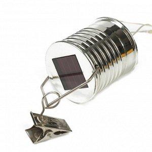 """Фонарь садовый на солнечной батарее """"Лампочка Прозрачная"""", 5 led, пластик, на прищепке"""