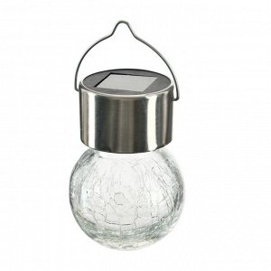 """Фонарь садовый на солнечной батарее """"Лампочка Прозрачная"""", 60 х 90 мм, 1led, стекло, т.белый"""