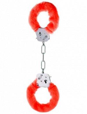 Металлические наручники с красным мехом