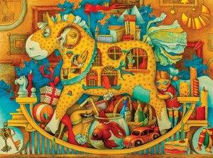 Лошадка Лошадка трансформируется и выходит за пределы картины в виде игрушки-качалки. Стоит собрать две лошадки из пяти элементов каждая и посадить на них мишку и клоуна - и игра обретает другие формы