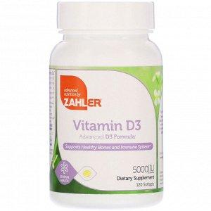 Zahler, Витамин D-3, улучшенная формула D3, 5000 МЕ, 120 мягких таблеток