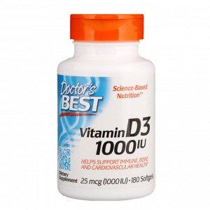 Doctor&#x27 - s Best, Витамин D3, 25 мкг (1000 МЕ), 180 мягких желатиновых капсул