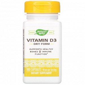 Nature&#x27 - s Way, Vitamin D3, Dry Form, 10 mcg, 100 Capsules