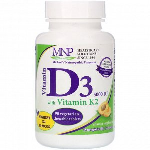 Michael&#x27 - s Naturopathic, Витамин D3, с витамином K2, вкус натурального абрикоса, 5000 МЕ, 90 вегетарианских жевательных таблеток