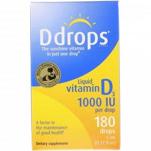 Ddrops, Жидкий витамин D3, 1000 МЕ, 0,17 жидких унций (5 мл)