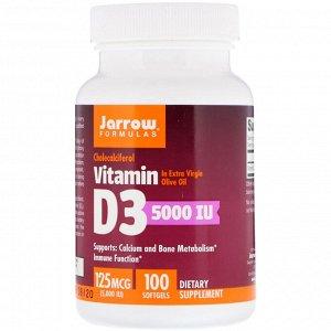 Jarrow Formulas, Vitamin D3 (Cholecalciferol), 5000 МЕ, 100 гелевых капсул