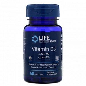 Life Extension, Витамин D3, 175 мкг (7000 МЕ), 60 мягких желатиновых капсул