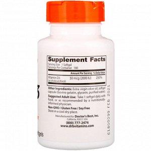 Doctor&#x27 - s Best, Витамин D3, 2000 МЕ, 180 мягких таблеток
