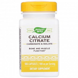 Nature&#x27 - s Way, Calcium Citrate, 500 mg, 100 Capsules