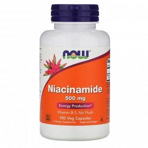 Now Foods, Никотинамид, 500 мг, 100 растительных капсул