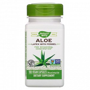 Nature&#x27 - s Way, Aloe Latex with Fennel, 140 mg, 100 Vegan Capsules