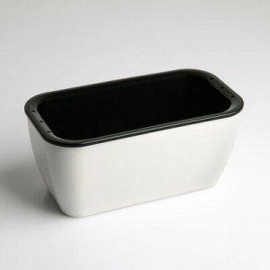 Кашпо прямоугольное «Глянец», 0,9 л, цвет чёрно-белый