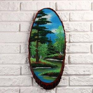 """Картина """"Лето"""" на срезе дерева 50 х 23 х 2 см, каменная крошка"""