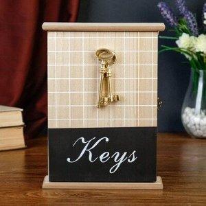 """Ключница дерево 5 крючков """"Ключи и клетка"""" 26x19x6 см"""