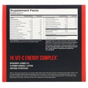 1Kvit-C, Витамин C, повышение уровня энергии, шипучая смесь для приготовления напитка, натуральный апельсиновый вкус, 1000 мг, 30 пакетиков по 6,8 г (0,24 унции)