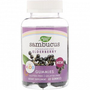 Nature&#x27 - s Way, Sambucus, стандартизированный экстракт бузины для детей, 60 жевательных таблеток