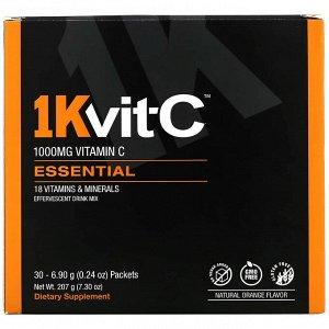 1Kvit-C, Витамин C, незаменимые питательные вещества, шипучая смесь для напитка, натуральный апельсиновый вкус, 1000 мг, 30 пакетиков по 6,9 г (0,24 унции)