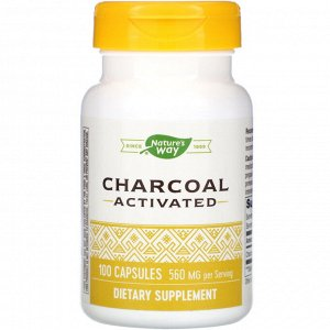 Nature&#x27 - s Way, Charcoal Activated, 560 mg, 100 Capsules