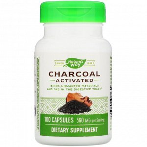 Nature&#x27 - s Way, Charcoal, Activated, 560 mg, 100 Capsules