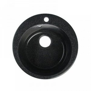 Мойка кухонная из камня MARRBAXX Виктори Z30Q4, d=475 мм, глубина 18 см, глянцевая, черная