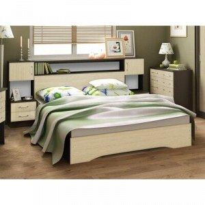 Кровать Бася 1600 с основанием, 950х1670х2220, Венге/Дуб молочный