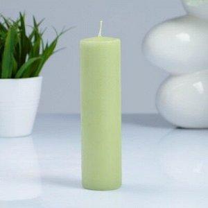 Свеча- цилиндр, парафиновая, фисташковая, 4?15 см