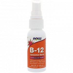 Now Foods, Липосомальный спрей B-12, 1000 мкг, 2 жидких унции (59 мл)
