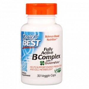 Doctor&#x27 - s Best, Комплекс ативных витаминов B с Quatrefolic, 30 растительных капсул