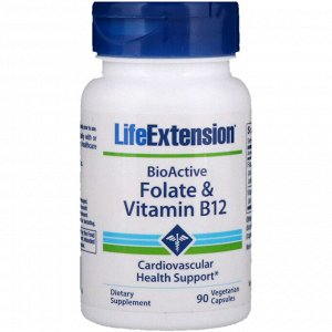 Life Extension, биологически активный фолат и витамин B12, 90 вегетарианских капсул