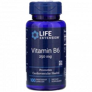 Life Extension, Витамин В6, 250 мг, 100 вегетарианских капсул