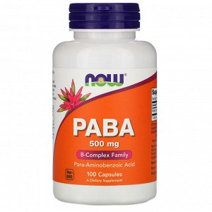 Now Foods, PABA, 500 мг, 100 капсул