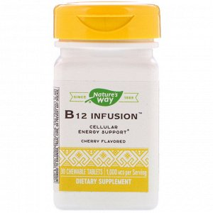 Nature&#x27 - s Way, B12 Infusion, Cherry Flavor, 1,000 mcg, 30 Chewable Tablets