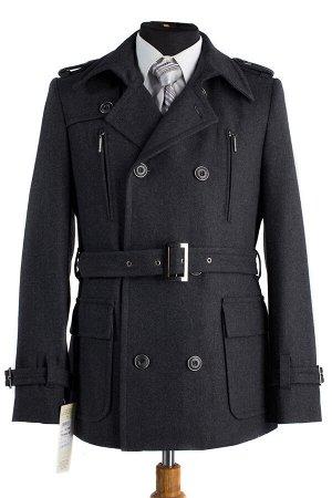 *Пальто мужское демисезонное (Рост 176) пояс. Цвет Серый