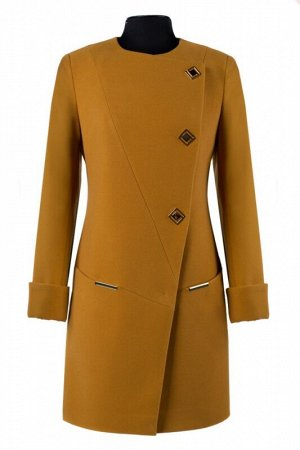 *01-5677 Пальто женское демисезонное Кашемир Горчичный. Цвет Горчичный